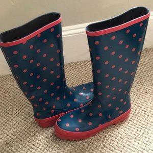 J Crew wellies polka dot rain boots